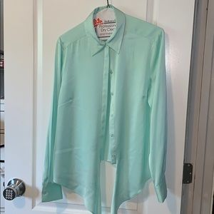 Mint green blouse with tie at waist